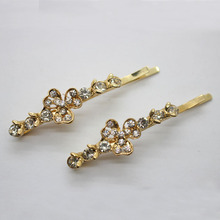 2 Pcs/set floral crystal bobby pins glass decorated hair barrettes women's fashion hair clips hair accessories wholesale