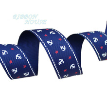 (5 yards/roll) 1'' (25mm) printed grosgrain ribbon navy sea anchor series ribbons gift wrap ribbons(China)