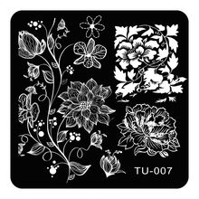 Square Nail Art Stamping Plates Peony Vines Designs Stainless Steel Polish Template 1Pc 3D Stencils For Lady Nails TU-007