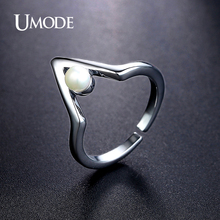 UMODE Brand Anel New Design Imitation Pearl Rings For Women Dark White Gold Color Cocktail Ring Jewelry Fashion Bague AUR0371B