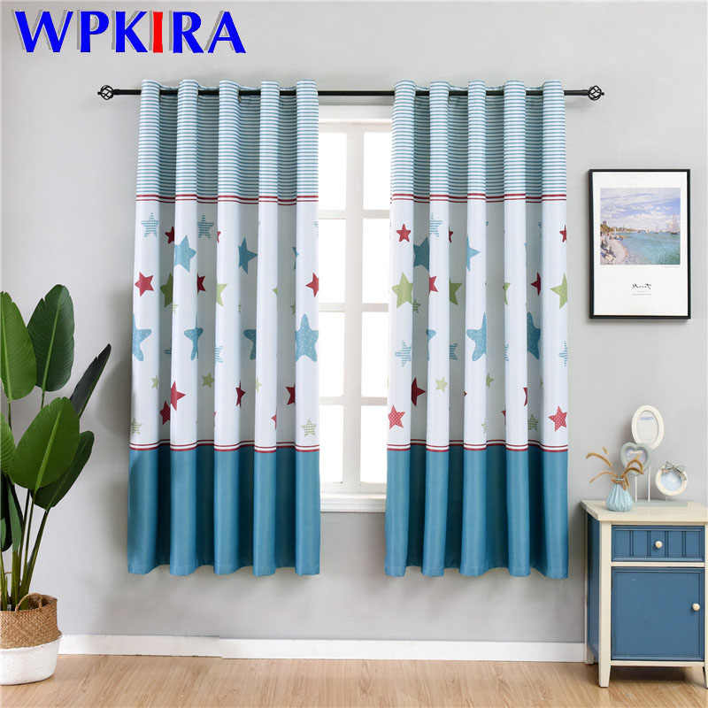 Cartoon Blue Stitching Star Blackout Curtain For Kids Children Bedroom Living room Gree Curtain For Kitchen Door Decor SQ007D3