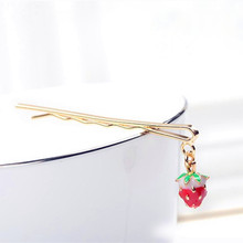 Strawberry Korean side clip hair accessories hairpin hairpin head ornaments Korea alloy word folder bangs clip new special
