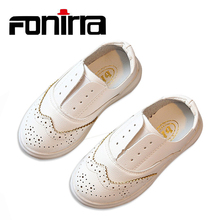 2017 New British Simple Children Slip-On Leather Casual Shoes For School Girls And Boys Anti-skid Solid 179(China)