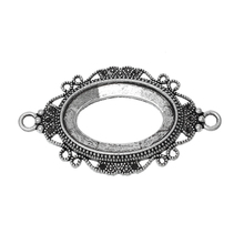 "DoreenBeads Connectors Oval Antique Silver Cabochon Settings (Fit 3cm x 2cm ) 56mm(2 2/8"") x 32mm(1 2/8""), 20 PCs 2015 new"