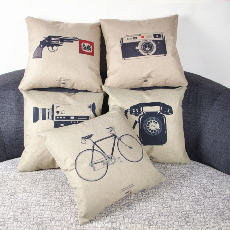 Vintage Style Classic Decorative Throw Pillowcase Camera Phone Camera  Bicycle Cushion Cover For Sofa Home Almofadas