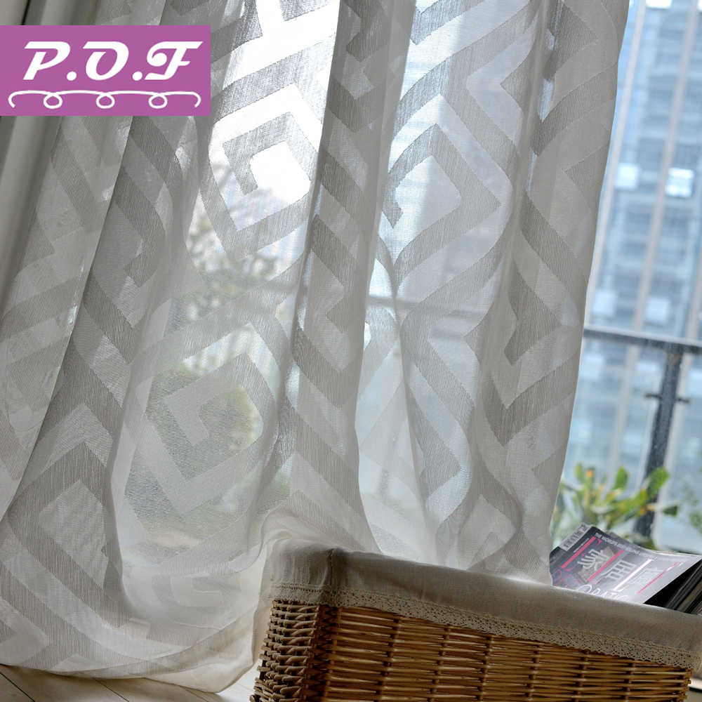 P.O.F  Solid  Voile Window Sheer Curtains for Livingroom Bedroom Tulle Drape  White Color