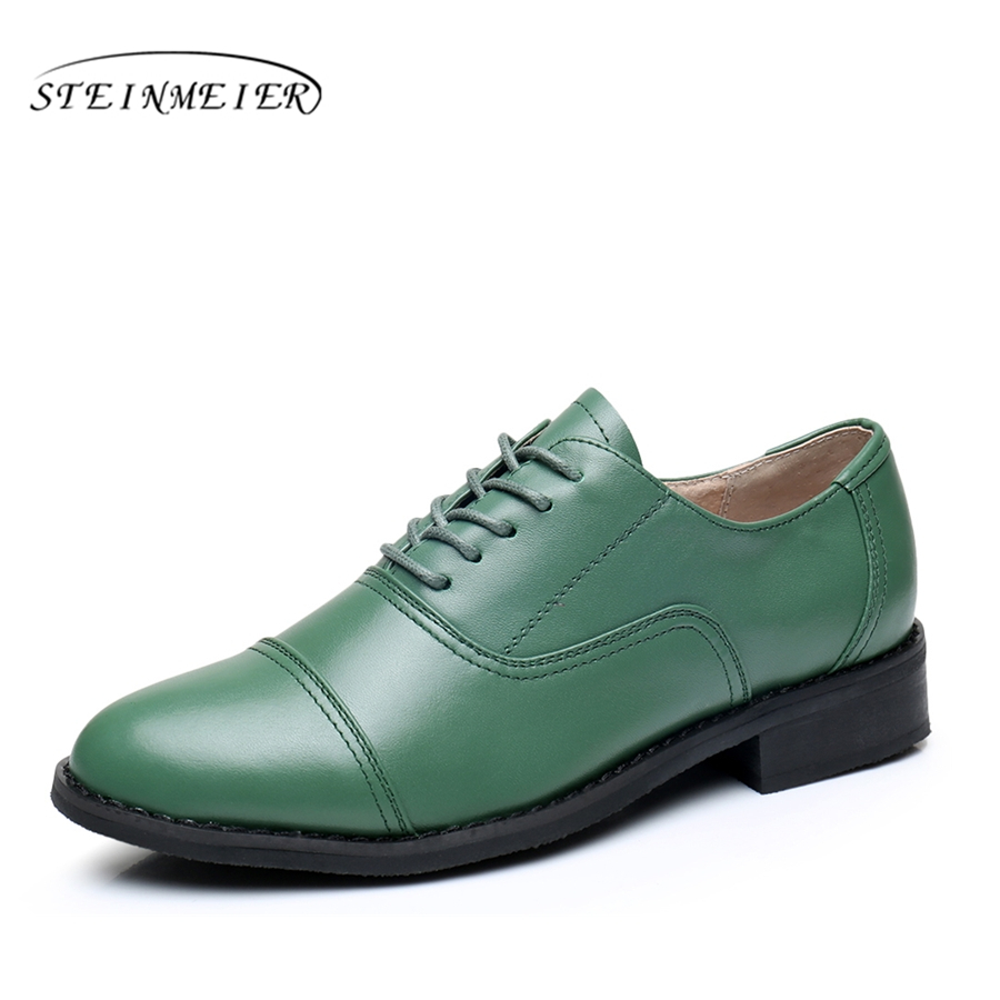 Women flats oxford shoes genuine leather vintage flat shoes US 11 round toe handmade Green  2017 oxfords shoes for women fur<br>