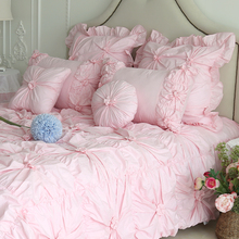 Princess pure pink red bedding set girl,twin full queen cotton cute single double bedclothes bedspread pillow cases duvet cover