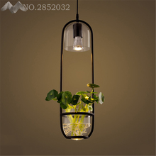 Cretive Nordic Retro Led Pendant Chandelier Lighting Metal Glass Flowerpot Bedroom Led Chandeliers Lamp Loft Led Hanging Lights(China)