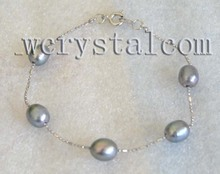 Black Freshwater Cultured Pearl Bracelet Chain