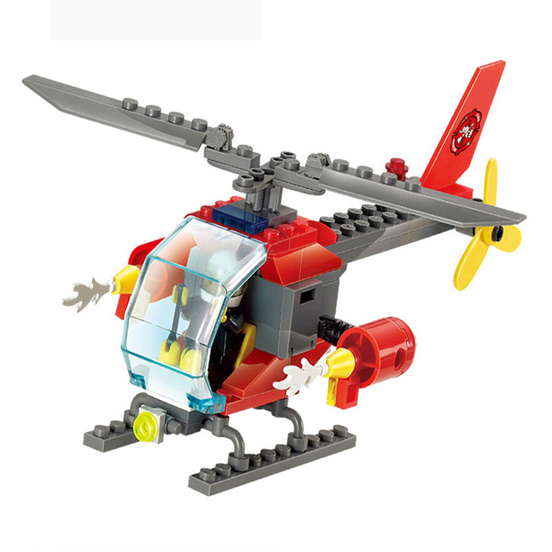 83 Pcs/Set Fire Helicopter Kids Children Educational Building Blocks Non-toxic ABS  DIY Assembling Boys Bricks Toys<br><br>Aliexpress