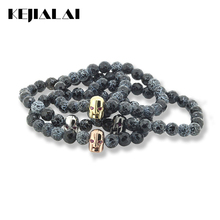 2017 New Fashion Helmet Spartan Bracelet 8mm Weathering Stone Beads & Red Eyes Warrior Helmet Charm Men / Women Jewelry for Gift(China)
