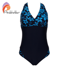 Andzhelika Women Swimwear One Pieces Swimsuits pint Floral Patchwork Solid high waist bathing suits Plus Size Swimwear 8285-1(China)
