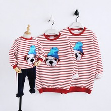 2018 new design family clothing Spring Autumn long sleeve Stripe father daughter girl boy T-shirt family matching clothes