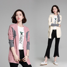 fashion 2017 the new fall color code Korean knit cardigan dress stitching long sleeved V women's sweater collar personality
