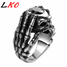 LKO 2017 Punk Style Dragon Claw Black Onyx Skull Ring Cubic Zirconia Skeleton Biker Ring 316L Stainless Steel Dark stone Jewelry(China)