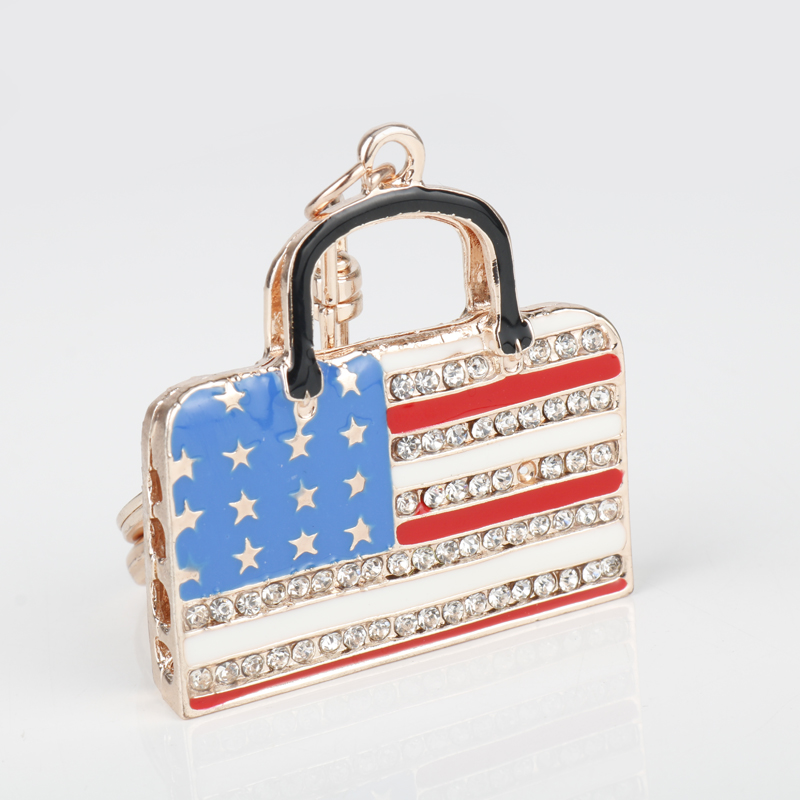 Wholesale 2017 Fashion Handbag Pendant USA Flag Keychain Popular Keyring Women Charm Handbag Key Holder Tourism Souvenir Gifts(China (Mainland))