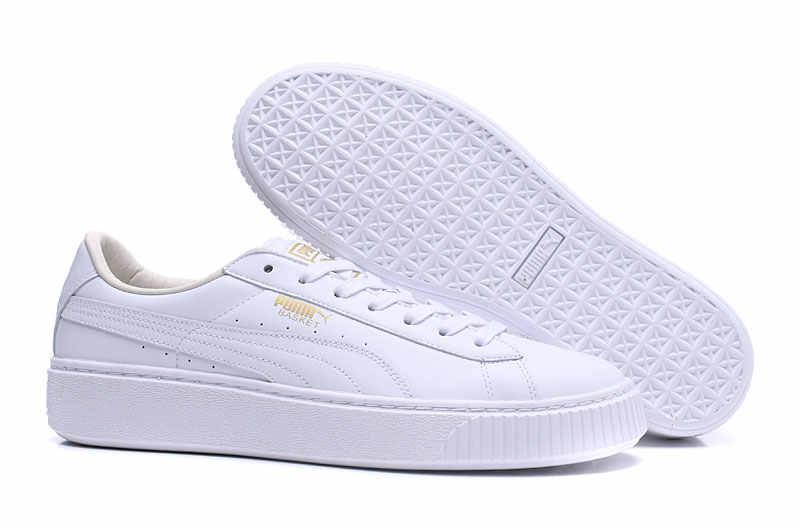 5af475aa1724cc 2018 Original PUMA Basket Platform Core Leather Sneakers Shoes Badminton Shoes  Women s and Men s Sneakers size36