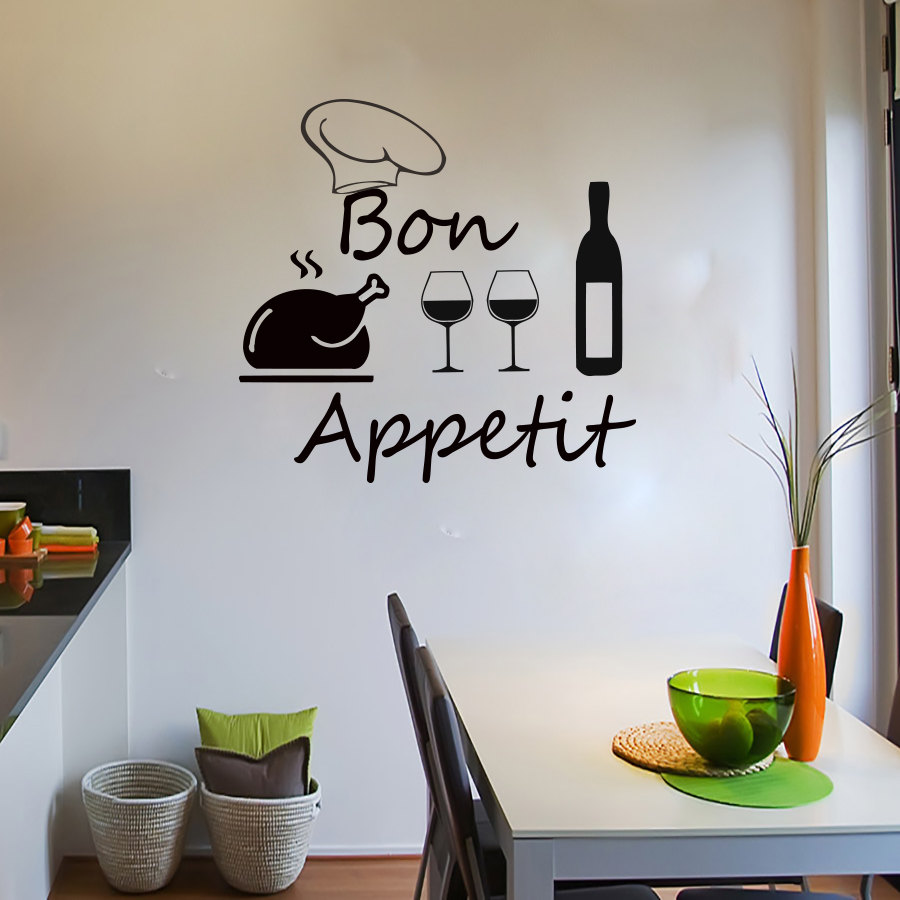 DCTOP French Kitchen Decoration Turkey Chef Hat Wine Bottle And Glasses Wall Sticker Vinyl Removable Home Decor(China)