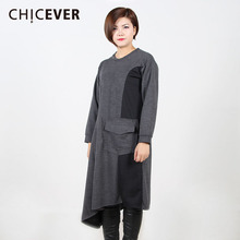 CHICEVER Autumn Asymmetrical Women Dress Tunic Long Sleeve Loose Big Size Black Dresses Female Clothes Fashion Vestidos Casual(China)