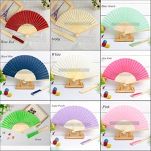 30 Pieces Ladies Bamboo & Raw Silk Fan Hollow Out Hand Folding Fans Outdoor Dancing Wedding Party Favors Fan(China)