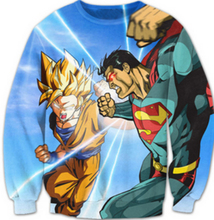 Funny Jumper Women Men Cartoon Crewneck Pullovers Anime Goku VS Superman 3D Sweatshirt Outerwear plus size S-3XL Free shipping