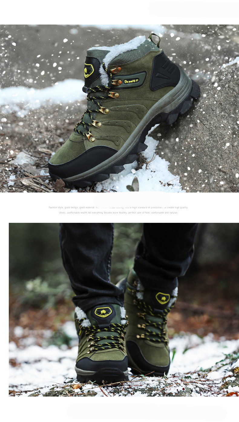 Luxury Men Boots Men Winter Snow Boots Warm Fur&plush Lace Up High Top Work Men Designer Driving Sneakers Male Winter Boots 18