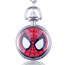 Fashion Personality Trumpet Silver Game Animation Spider Man Chain Hanging Silver Cartoon Characters Quartz Pocket Watch(China)