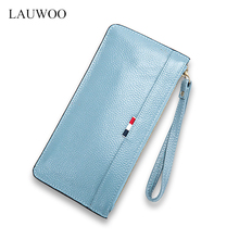 LAUWOO Women Genuine Leather Long wallet Vogue Long purse for women fashion Striped female Cow Leather Clutch phone Clutches ANS(China)