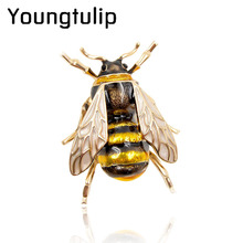 Young tulip Enamel Bee Brooches Unisex Insect Brooch Pin Women and Men Jewelry Cute Small Badges Fashion Jewelry Wholesale Price(China)