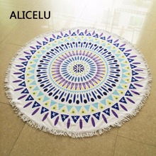 ALICELU New Bohemian Wind Microfiber Bath Towel Round Beach Active Printing With Tassel Polyester Adult Beach Towel Blanket Mat(China)