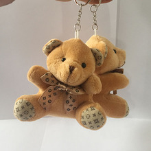 18pcs Brown Teddy Bear with Bowtie Sitting Bear Plush Toys Doll Pendants Bouquet Material 9CM