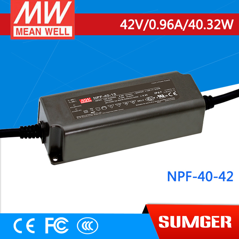1MEAN WELL original NPF-40-42 42V 0.96A meanwell NPF-40 42V 40.32W Single Output LED Switching Power Supply<br>