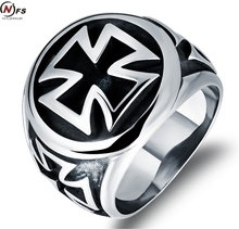 NFS Men's Rocker Rock Biker Cross Ring  Knights Templars Ring Men Stainless Steel Unique Jewelry Exquisite Men Biker Ring