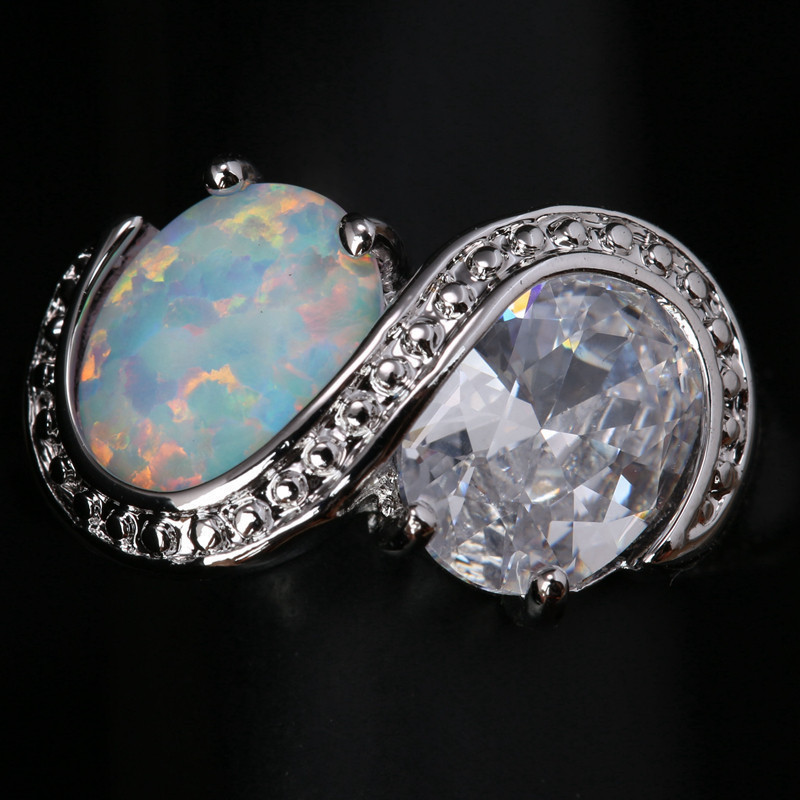 Unusual Rings 2 Pcs Round White Fire Opal Gems Solitaire Wholesale 925 Sterling Silver Stamped Jewelry Us# Size 6 7 8 9 SF1312(China (Mainland))