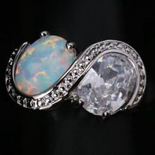 Unusual Rings 2 Pcs Round White Fire Opal Gems Solitaire Wholesale 925 Sterling Silver Stamped Jewelry Us# Size 6 7 8 9 SF1312(China)