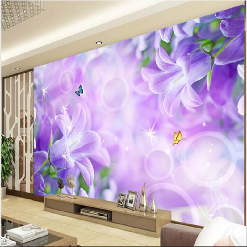 Modern Background Large Painting Hazy purple lilies wall Murales De Pared 3d Wallpaper Hotel Badroom Mural for Living Room<br><br>Aliexpress