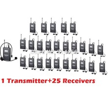 Takstar WTG-500/WTG 500 UHF PLL Wireless Acoustic Transmission System 1 Transmitter+25 Receivers+1 Headworn MIC+25 Earphone