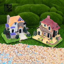 Resin Villa Crafts Mini House Model Ornament DIY Fairy Garden Miniatures Home desktop/ Succulents/ Micro Landscape Decoration(China)