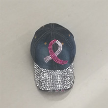 wholesale women red ribbon man made crystal denim jeans cloth Artificial stones bling bling Angel wings baseball caps(China)