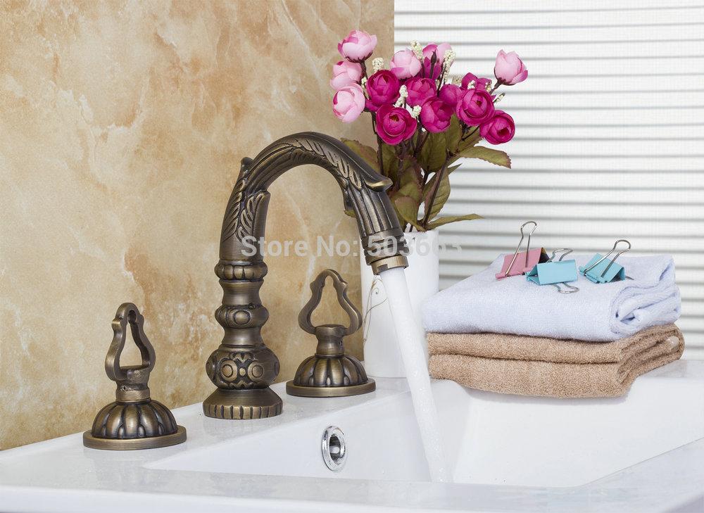 New 96100 Antique Brass Construction Waterfall Deck Mounted Bathroom Basin Sink Bathtub Double Handles Mixer Tap Faucet<br><br>Aliexpress