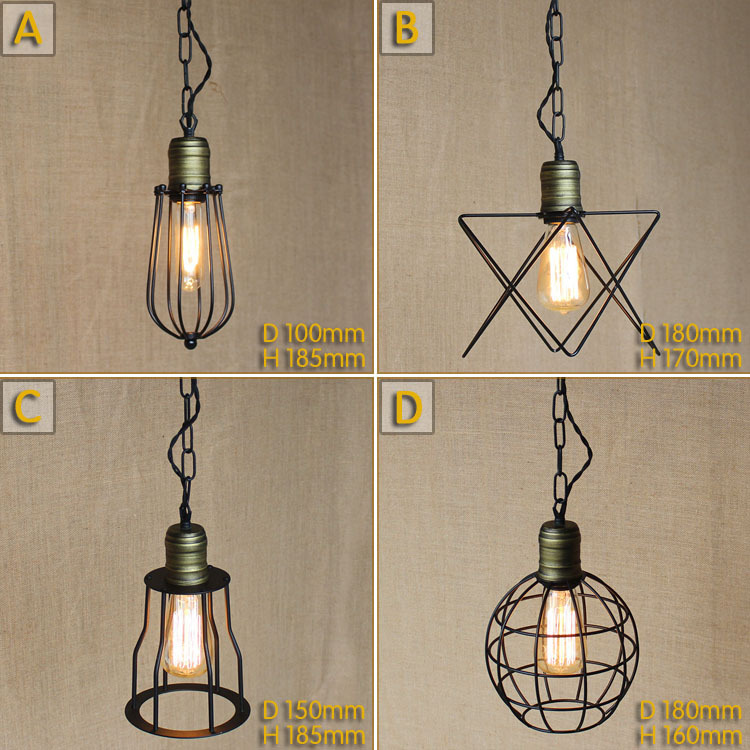 American Rustic Retro Loft Style Industrial Lighting Vintage Pendant Lamp Fixtures For Dinning Room Lampen Edison Luminaire<br>