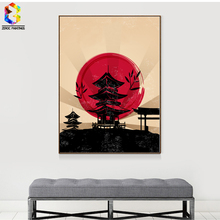 ZeroC Japanese Art Print Ink Painting Tower Wall Hanging Poster Picture for Living Room Decoration Home decor