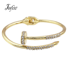 Jufee Punk Rock Style Gold-Color Silver Color Rose Gold Color Nail Shape With Rhinestone Bracelet For Women Accessories(China)