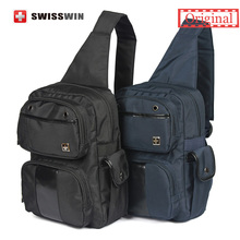Swisswin Fashion Sling Bag Women and Men Small Casual One Shoulder Bag Waterproof Men Chest Bag Black Blue