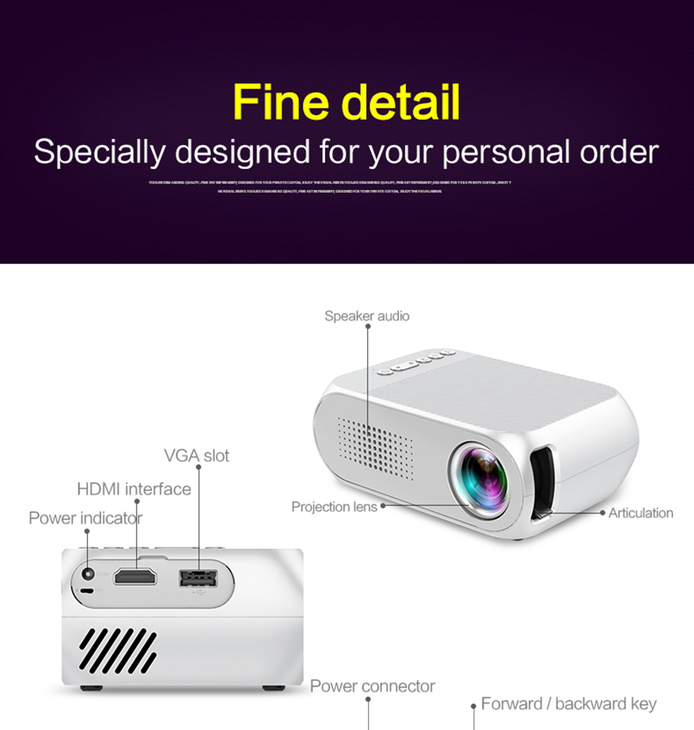 YG-320 Portable Home Mini HDMI USB LED 1080P Projector
