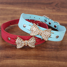 Bling Cute Rhinestone PU leather Dog Collars Pet Collar with Golden Bowknot Size( XS S M) 3 Colors Free Shipping(China)