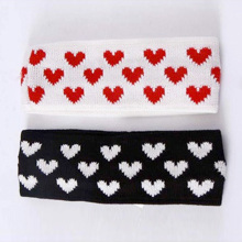 Women Heart Pattern Knit Wool Headband Stretch Wide Hair Band Head Wrap 2colors