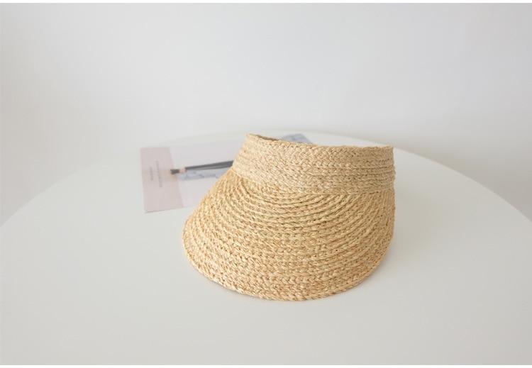 ladies uv roll up korean sun visor hat women sun visor straw sun visor caps (4)