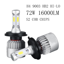12v 72W Led Car Light Headlight Bulbs 16000LM kit H4 Led Auto Fog Light Combo Beams 6000K Cool White 9003 Led lamp HB2 Headlamps